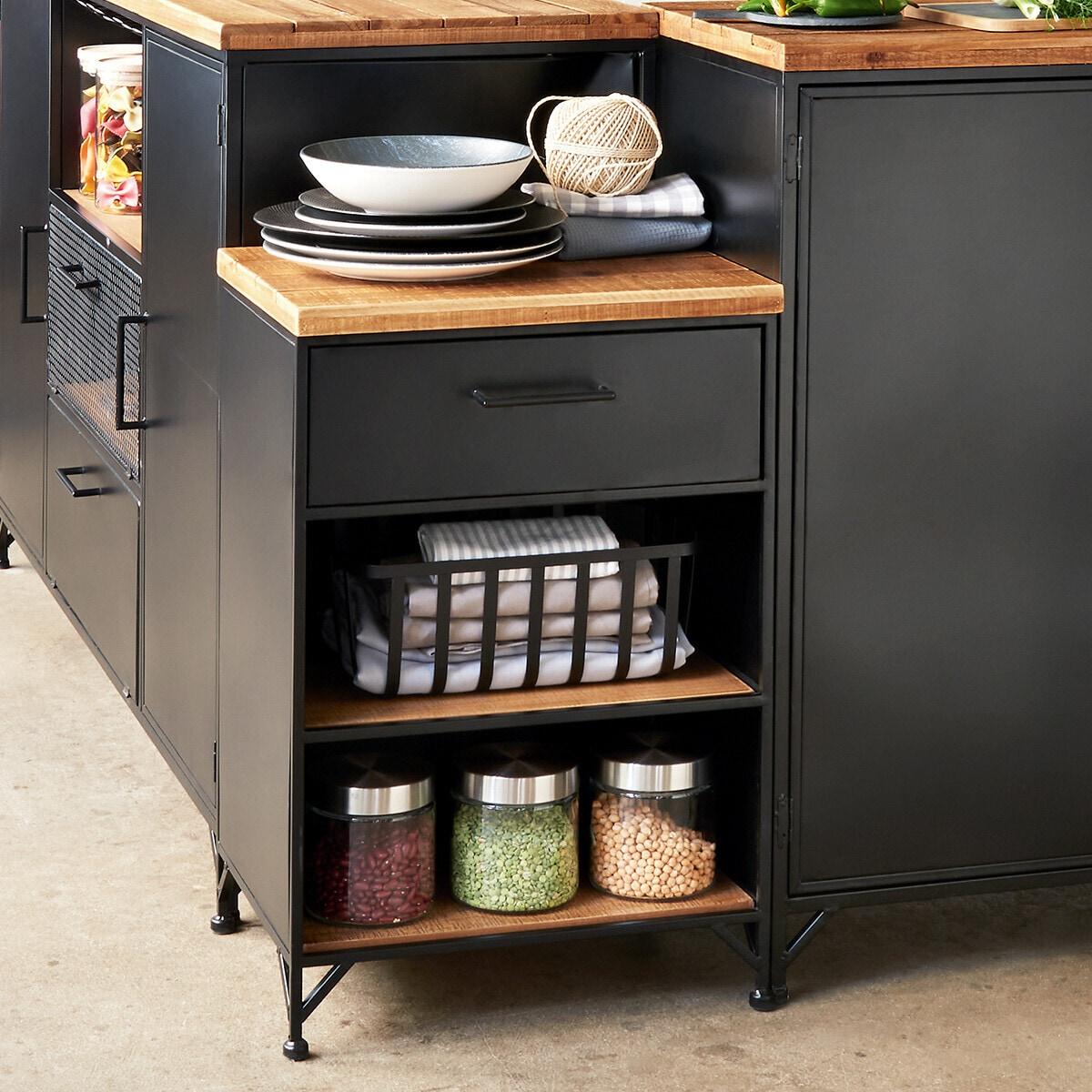 Table de chevet 'Cierna' noir, métal & bois noir