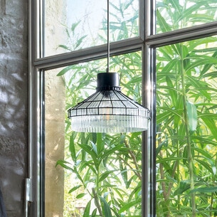 "Look Suspension ""House"" noire, métal & verre D30 cm ATMOSPHERA"