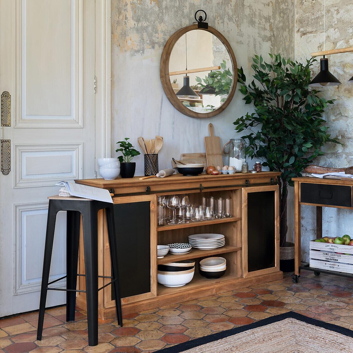 Buffet 'Danik' 2 portes, bois & ardoise marron