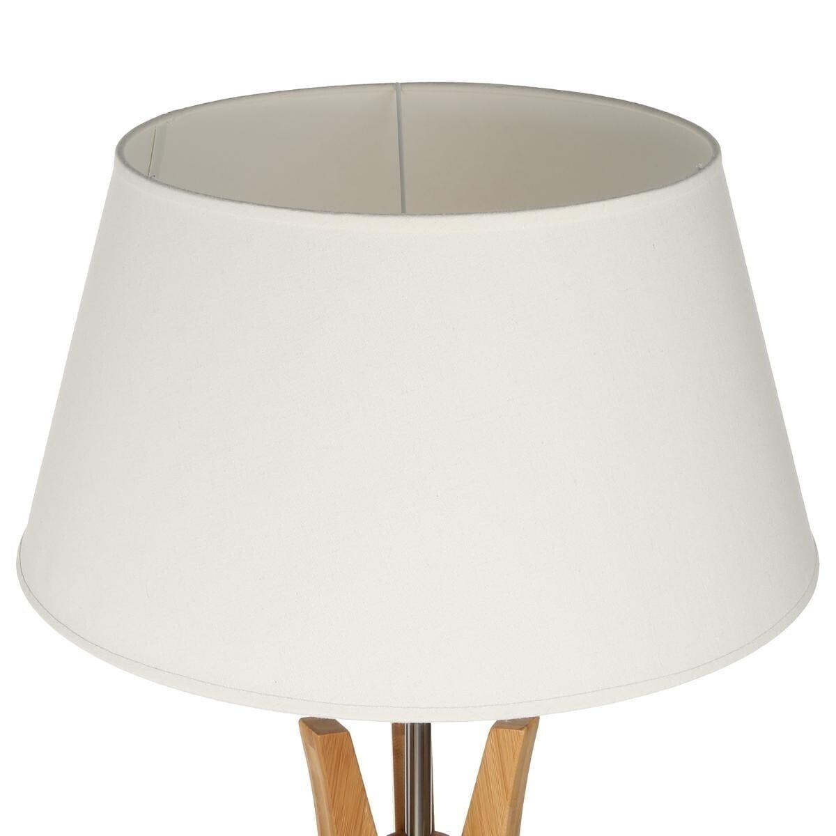 Lampadaire trépied 'Kalo', bambou et blanc H156 cm beige
