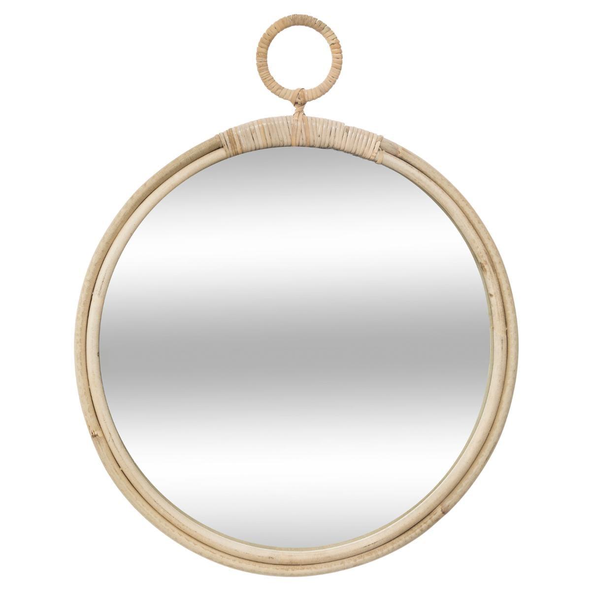 Miroir 'Gousset', rotin D38 cm beige