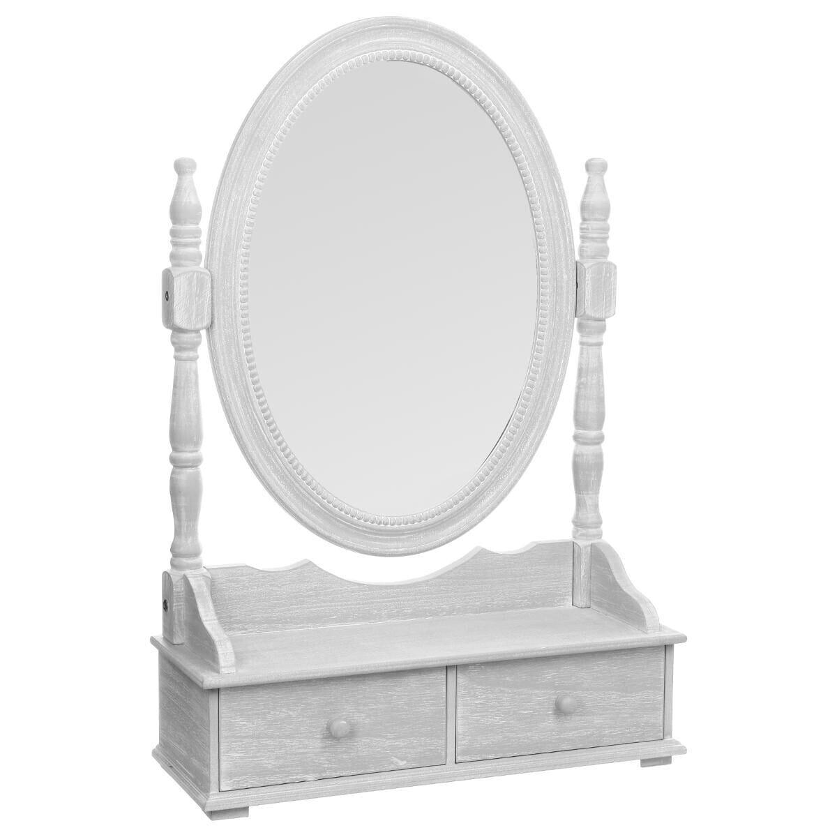 Miroir Range Bijoux Gris 2 Tiroirs 50x75 Structure En Bois MDF, Miroir En  Verre