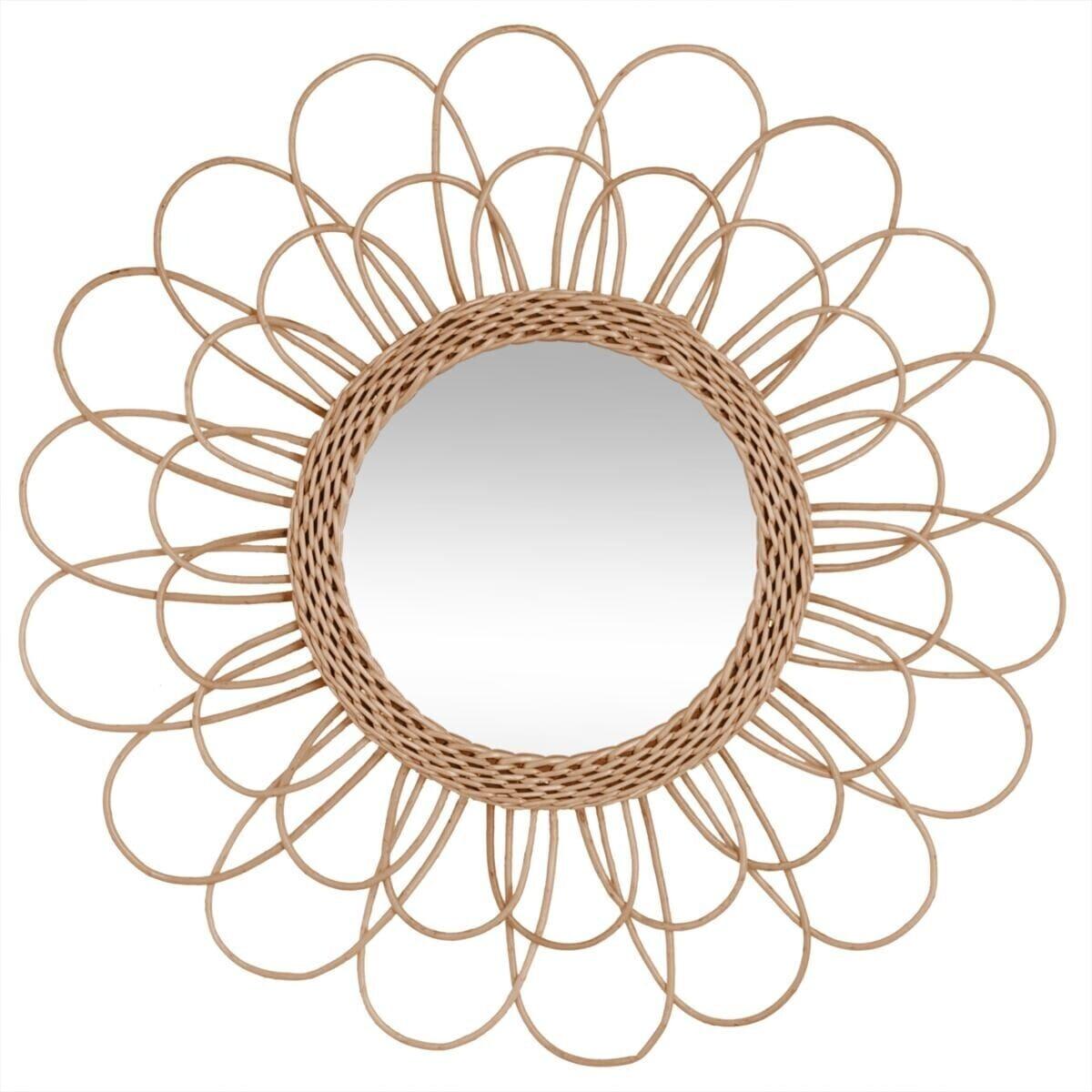 miroir fleur en rotin d56 atmosphera. Black Bedroom Furniture Sets. Home Design Ideas