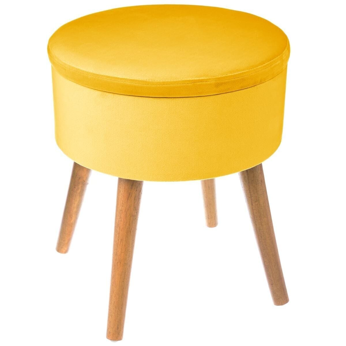 Tabouret coffre moutarde