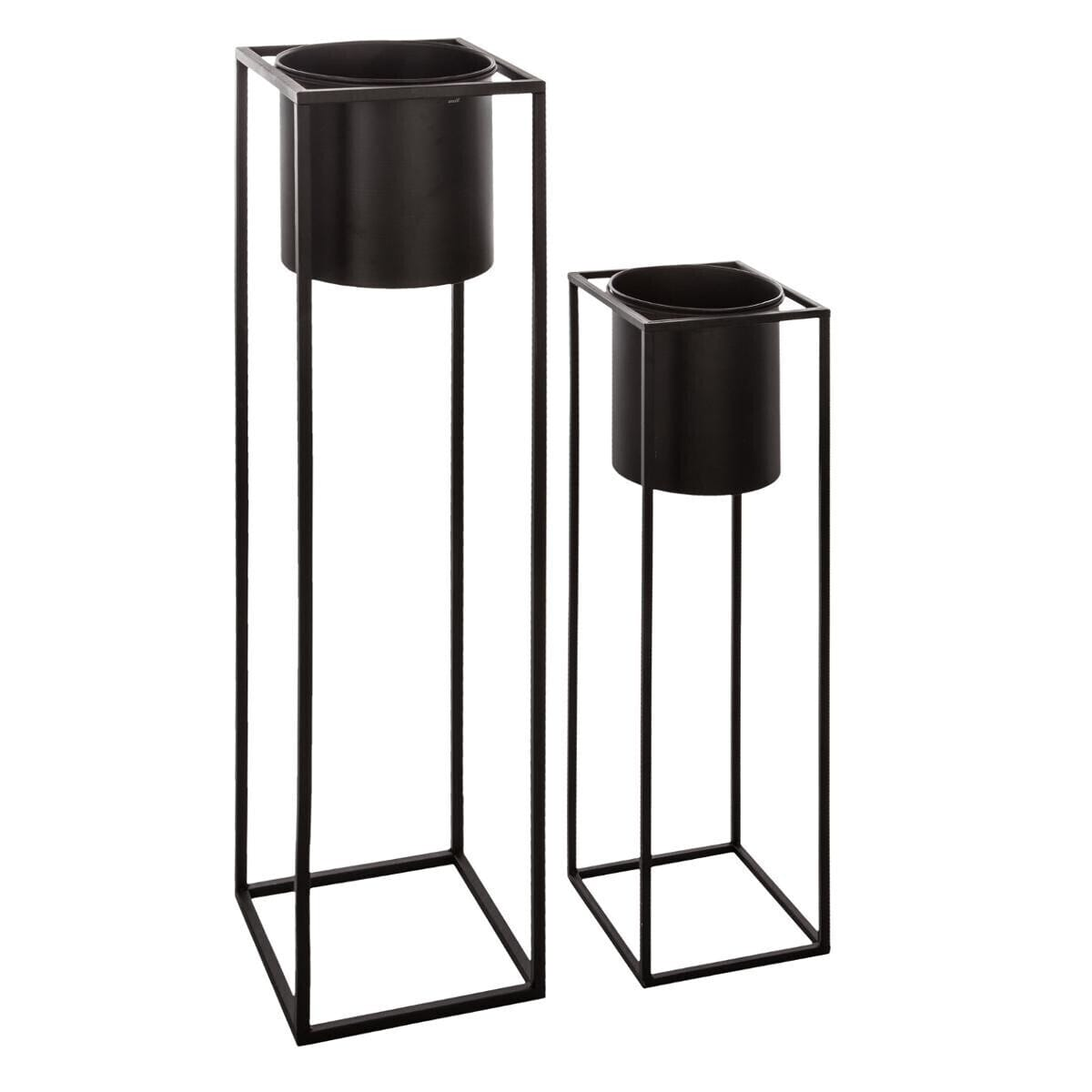 cache pot carr sur pied en m tal atmosphera. Black Bedroom Furniture Sets. Home Design Ideas