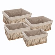 Panier rectangle en osier beige